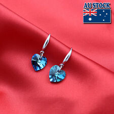 Classic 925 Sterling Silver Filled CZ Crystal Love Heart Drop Wedding Earring