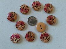 """Lot of 10 PINK ROSES 2-hole Wood Buttons 9/16"""" (18mm) Scrapbook Doll (1011)"""