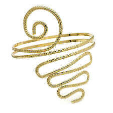 gold colour stamped effect tribal look coil arm band bangle bracelet 29154