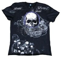 ViP Amplified SAINT&SINNER HONOUR SKULL Totenkopf Rock Star Strass T-Shirt XL 54