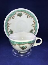 Coffee Cup and Saucer by Shenango China Green with Dots Laurel Flower Pots