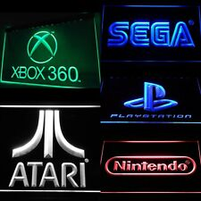 SEGA NINTENDO ATARI XBOX PLAYSTATION ARCADE LED NEON LIT SIGNS ManCave Game Room