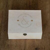 Personalised Engraved Wooden Keepsake Box Mr and Mrs Design Couples Wedding