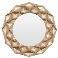 Large Circular Hexa 3d Geometric Gold Round Wall Mounted Mirror Home Decor Frame