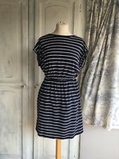 Nautical Sailor Breton Holiday New Wave Dress Navy White Pockets XS 6 8 10