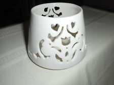 Home Interior White Ivory Floral Cutout Ceramic Candle Shade Topper