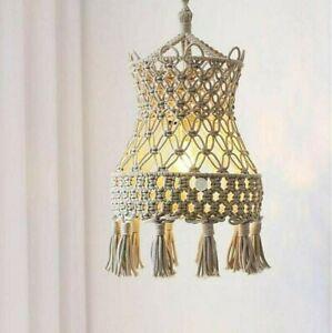 Woven Macrame Wall Hanging Lampshade Bohemian Tapestry Handmade Lamp Room Decor