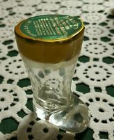 "UNIQUE ♢ VINTAGE GLASS  BOOT CANDY CONTAINER WITH LABEL ♢ 3"" TALL"