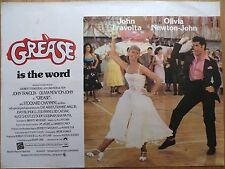 GREASE (1978) - original UK quad film/movie poster, John Travolta, musical