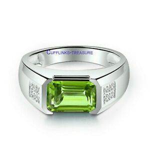Natural Peridot & CZ Gemstones 925 Sterling Silver Ring for Men's