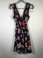 Striking womens navy blue butterfly print fit and flare dress size 8 sleeveless