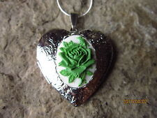 GREEN ROSE ON WHITE CAMEO SILVER PLATED HEART LOCKET - UNIQUE, HANDMADE