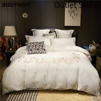Premium Egyptian Cotton Bedding Set Chic Embroidery Cover Set Bed Sheet  4Pcs