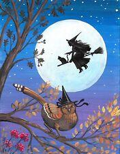 11x14 PRINT OF PAINTING RYTA HALLOWEEN WITCH PHEASANT MOON BLACK CAT FOLK ART