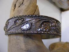 ANTIQUE VICTORIAN ORNATE Silver BANGLE BRACELET REPOUSSE design on Silver MESH