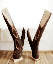 Einzelstücke Große Deko Baumstamm Zwei Skulpturen Kunst Holz Apfel Statue 1,05m