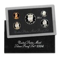 1994 US MINT SILVER PROOF SET - BOX, COA , 5 COINS