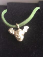 """Skull Bat TG329A Made In Fine English Pewter On 18"""" Green Cord Necklace"""