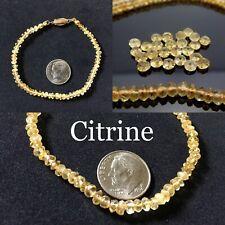 Slender Genuine Citrine Gemstone Beaded Bracelet - Handmade