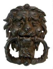 LARGE CAST IRON GARGOYLE LION HEAD DOOR KNOCK KNOCKER ANTIQUE VINTAGE STYLE