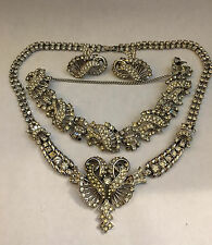 VINTAGE ESTATE TARA RHINESTONE PARURE NECKLAC, BRACELET AND EARRINGS SET