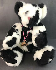 "Vintage Vermont Teddy Bear 15"" Holstein Cow Print Jointed Bear with Cow Bell A6"