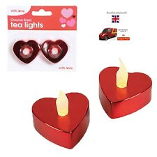 LED Battery Tea Lights Pack of 2 Red Heart Shape Chrome Finish by Sky Online