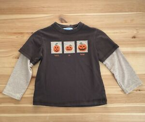 JANIE AND JACK Trick Or Treat Brown Pumpkin Halloween Shirt Size 3 3T