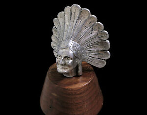 Vintage Indian Head Chief Radiator Fender Hood Ornament Mascot 30s 20s 10s 40s