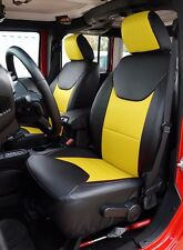 JEEP WRANGLER 2013-2016 BLACK/YELLOW S.LEATHER CUSTOM MADE FIT FRONT SEAT COVER