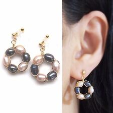 Dangle Freshwater Pearl Invisible Clip on Earrings Comfy Modern Pearl Clip-ons