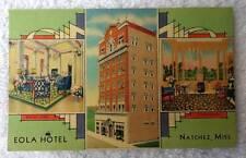 Linen Postcard Eola Hotel Natchez Mississippi #pq2k