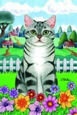 New listing Spring Garden Flag - Silver and White Tabby Cat 76009