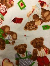 """White Teddy Bear Print Flannel Fabric - Sold By The Yard - 45"""""""