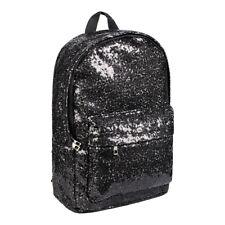 Bleeding Heart Girls Black Glitter Sequin Travel Backpack/School Bag/Rucksack