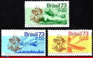1295-97 BRAZIL 1973 SANTOS DUMONT, 14-BIS PLANE AVIATION MI# 1379-81 C-792-4 MNH