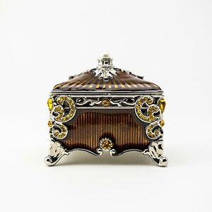 Brown Trinket box hand made by Keren Kopal & Austrian crystals Faberge