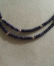 "14K FACETED BLUE SAPPHIRES & Yellow Gold Beads DOUBLE STRAND 18"" Necklace"
