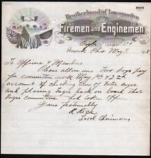 1918 Newark Ohio - Brotherhood of Locomotive - Firemen & Enginemen - Letter Head