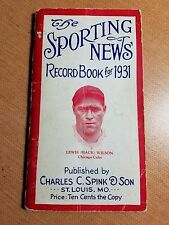 1931 LEWIS HACK WILSON The Sporting News Record Book for 1931 CHICAGO CUBS