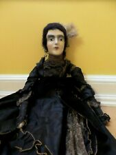 Antique Boudoir Doll French Victorian Mourning Girl All in Black 1900's
