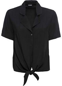 Kurzarmbluse m Knotendetail Gr. 46 Schwarz Damen Kurzarm-Bluse Shirt Tunika Neu