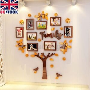 3D Family Tree Picture Photo Frame Wedding Birthday Wall Sticker Home    NEW
