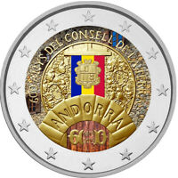 2 Euro Gedenkmünze Andorra 2019 coloriert / mit Farbe Farbmünze Consell Terra 2
