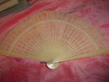 Vintage White Plastic Folding Hand Fan Hong Kong   FREE SHIPPING