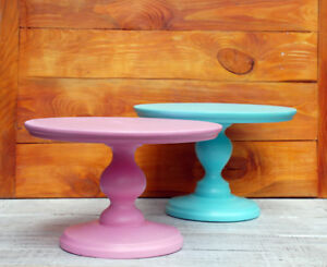 """12"""" inch Pink, Blue Wood rustic cake stand, cake pedestal, wedding cake stand"""