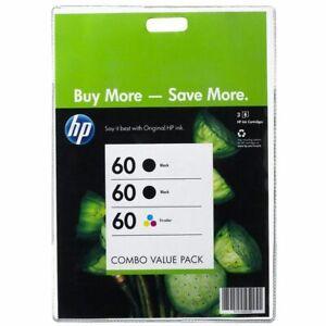 HP Genuine 60 Black & Colour Ink 3-Pack for Deskjet D1660/D1663/D1668/D2560/D256