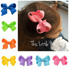 4'' Bow 2pcs/lot Girls Baby Kid Hair Bow Clip Hairpins Grosgrain Ribbon Boutique