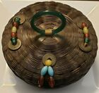 Vintage+Round+Chinese+Sewing+Basket+w%2F+Coins+and+Peking+Beads