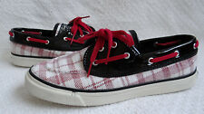 Women's 8 Sperry Top Sider Seamate Red Plaid Sequins Black Patent Boat Shoes
